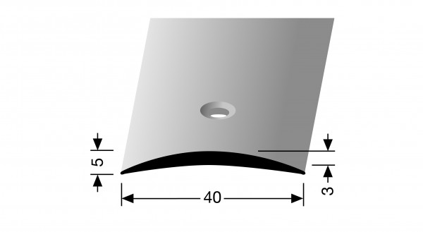 Übergangsprofil, PF 462, 40x3,0mmx1m,Alu elox silber, mittig versenkt gebohrt