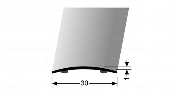 Übergangsprofil, PF 451SK, 30x1,0mmx1m edelstahl poliert, selbstklebend