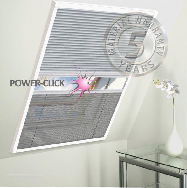 DUO POWER-CLICK Dachfenster Plissee-Hitze-Insektenschutz-Kombination 113x160cm weiß