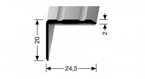 Winkelprofil, PF 235 SK, 24,5x20x2mm, 1m lang, Alu elox. Edelstahl, selbstklebend