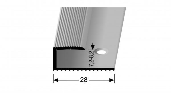 Einfassprofil PF 210, 8 mm,Alu eloxiert silber,28x8,5mmx0,9m