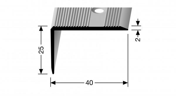 Winkelprofil, PF 228, 40x25x2,0mm, 1m lang ,Alu eloxiert silber