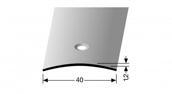 Übergangsprofil PF 454, 0,40x0,01x100cm, Edelstahl matt gebürstet, mittig versenkt gebohrt