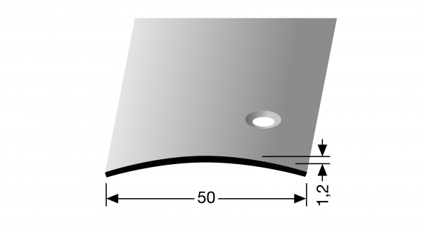 Übergangsprofil, PF 455 S, 50x1,2mmx1m,edelstahl matt gebürstet, seitlich versenkt gebohrt