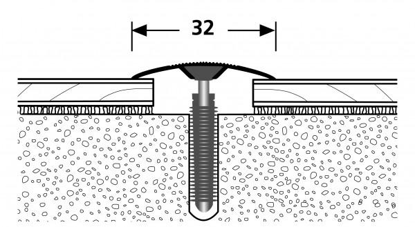 PFE-Light Übergang PF 188, Alu elox. Edelstahl, 0,9 m lang,32 mm breit