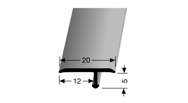 Biegbares T-Profil PF 291 20x12x5 mm, 1,8 m lang, Alu elox. Edelstahl