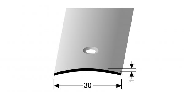 Übergangsprofil PF 451 0,30x0,01x100cm Edelstahl poliert massiv, mittig versenkt gebohrt